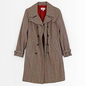MERONA Plaid Beige 100% Cotton Trench Coat